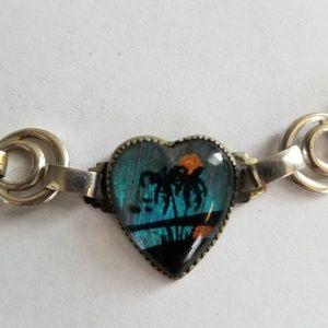 Vintage 50s Heart Shaped Bracelet Palm Tree Beach